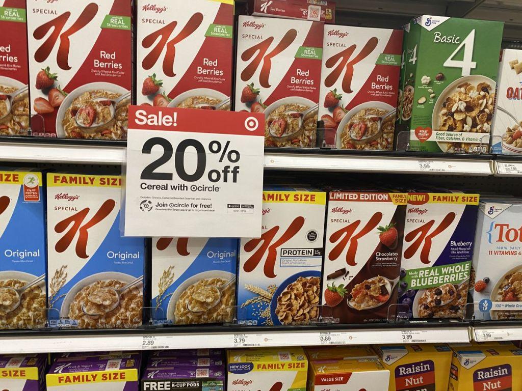 cereal on shelves at Target