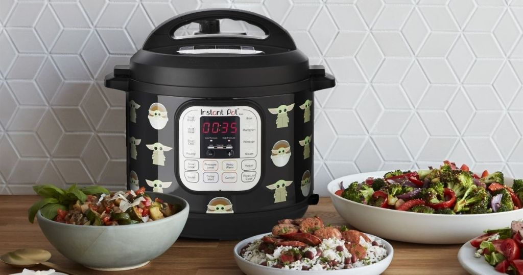 Star Wars 6qt Instant Pot Duo 7-in-1 on counter with food