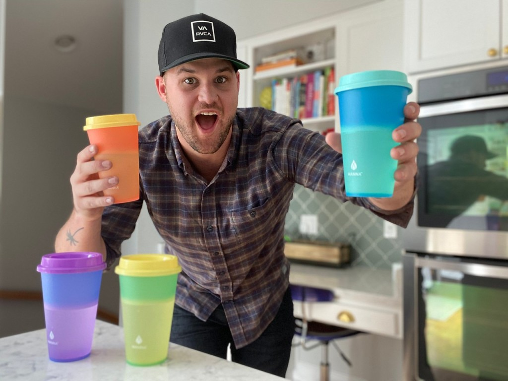 Stetson holding color changing cups