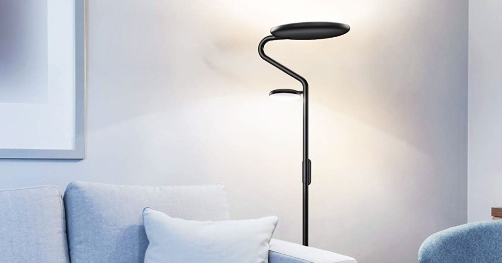 floor lamp next to a couch