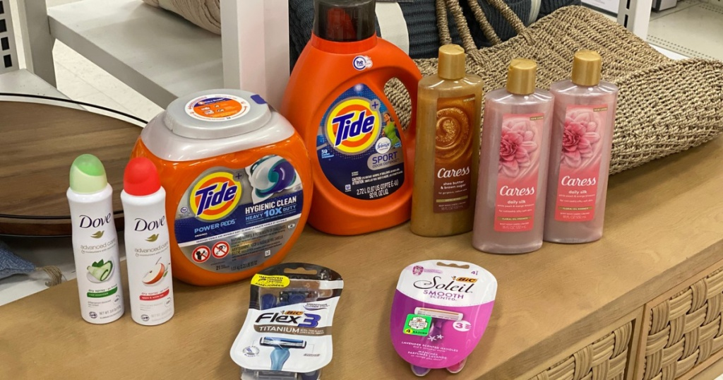 Assorted Target products arranged on table