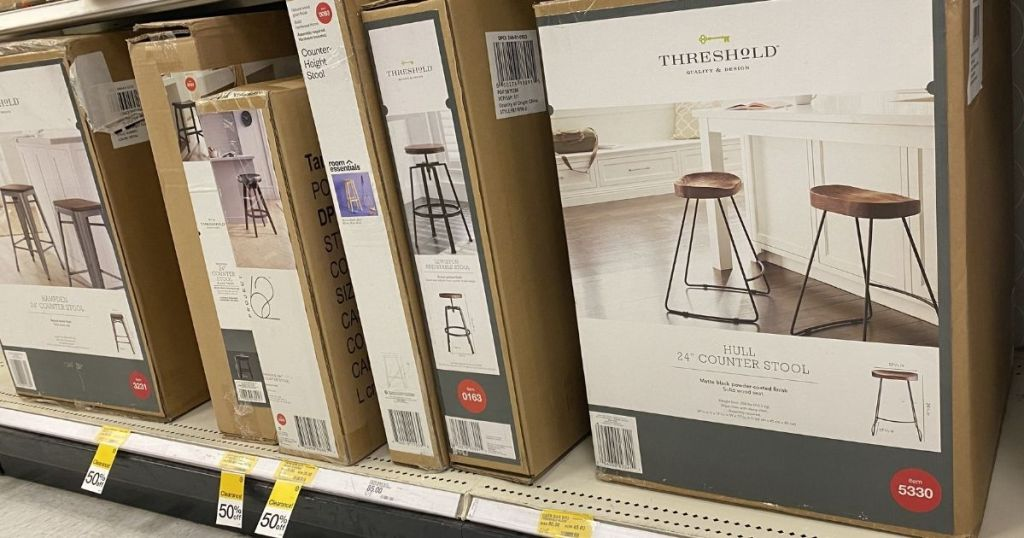 row of stools on a shelf at Target