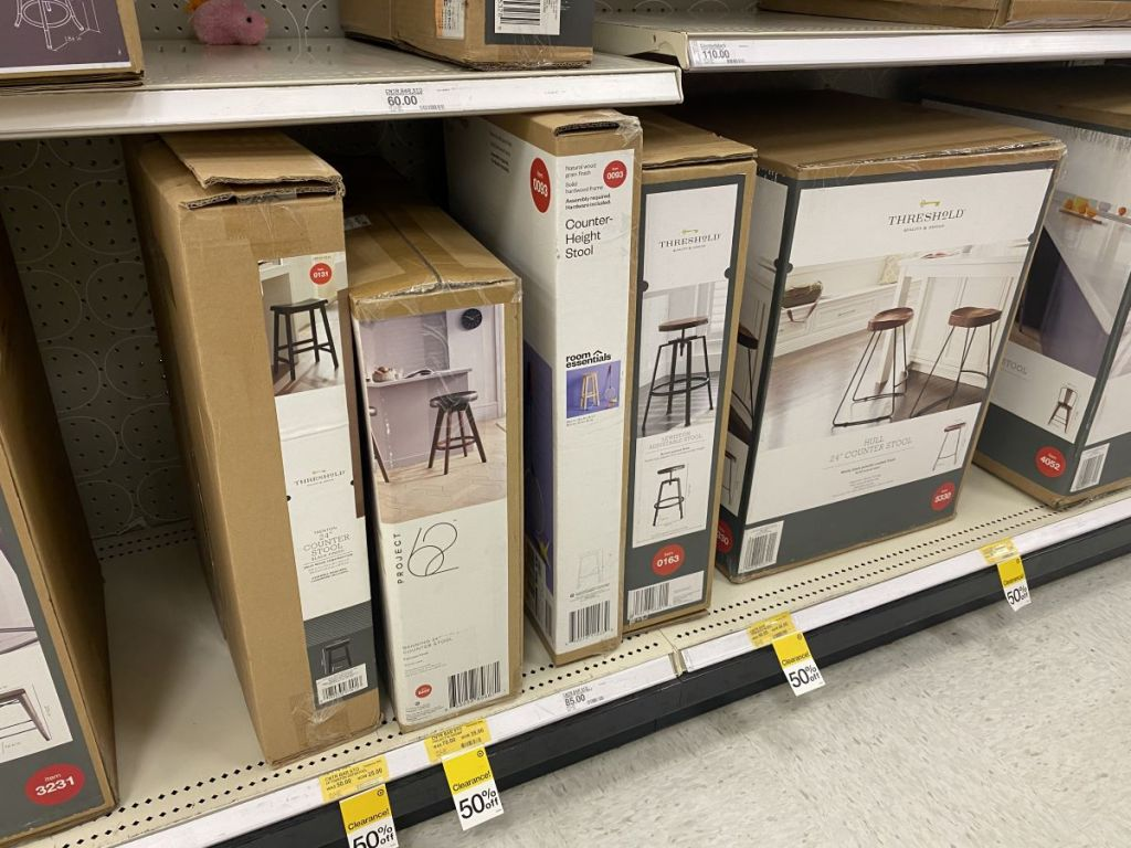 row of stools on the shelf at Target