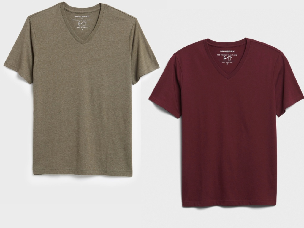 two styles of v-neck men's tees