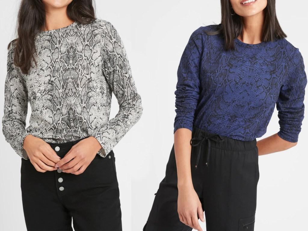 Women wearing snakeskin print shirts