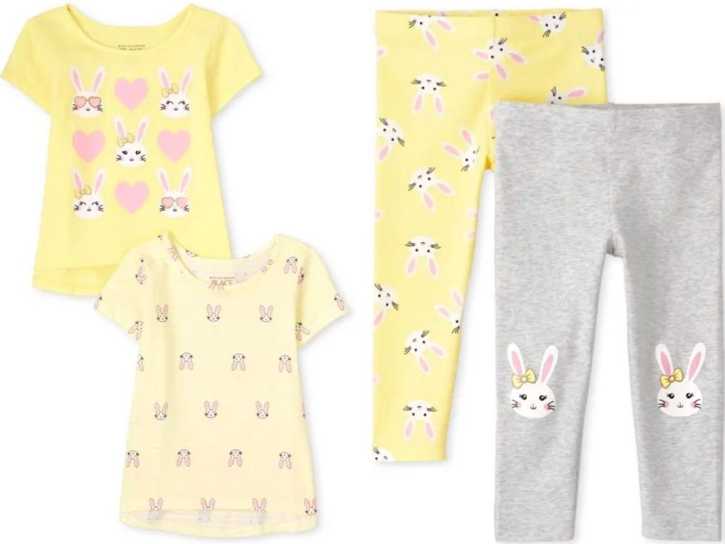 two toddler shirts and leggings with bunny print