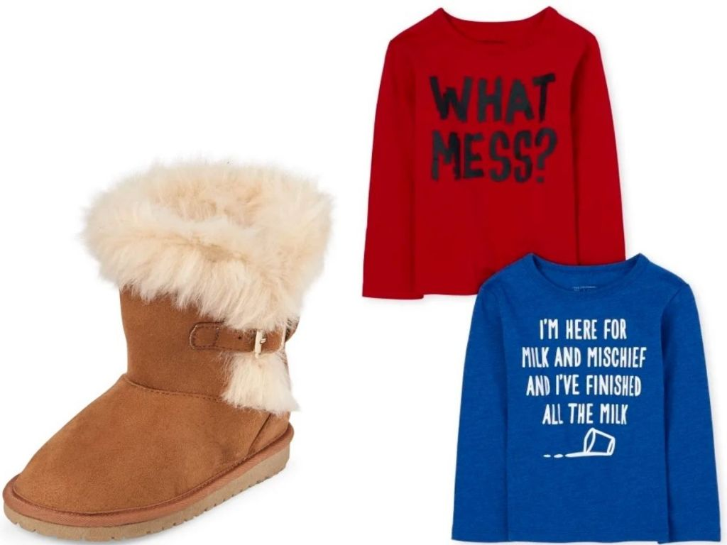 The Childrens place furry girls boot and boys t-shirt 2-pack