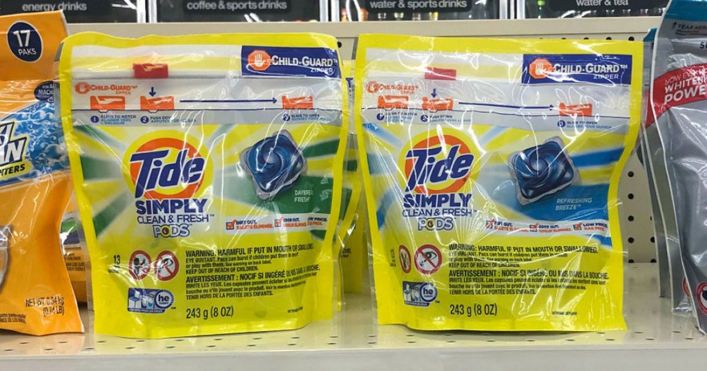 tide simply bags on shelf