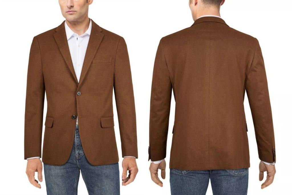 front and back Tommy Hilfiger Men's Modern-Fit Solid Sport Coat