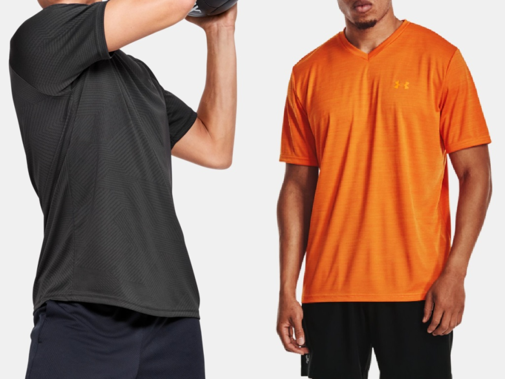 2 men wearing under armour t shirts