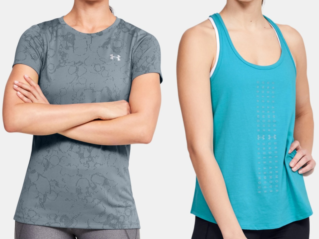 2 women wearing under armour tops