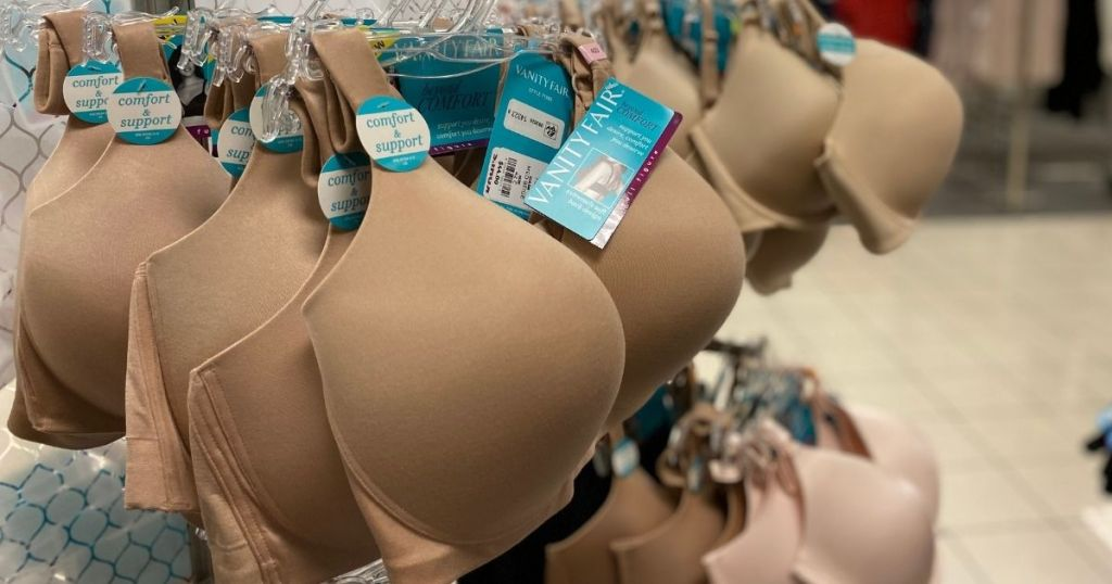 Vanity Fair Bras on a hanger