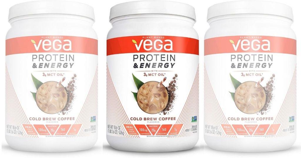 3 views of Vega Protein Powder