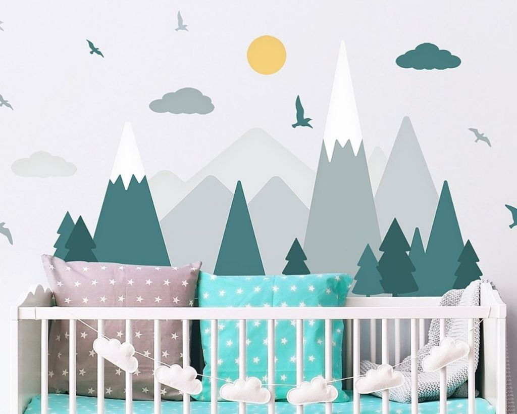teal and gray Walplus Mountain Adventure Wall Decal in nursery