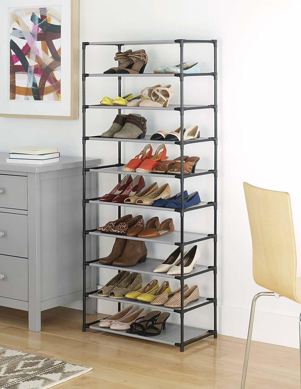 Whitmor Shoe Shelf shown stocked with shoes