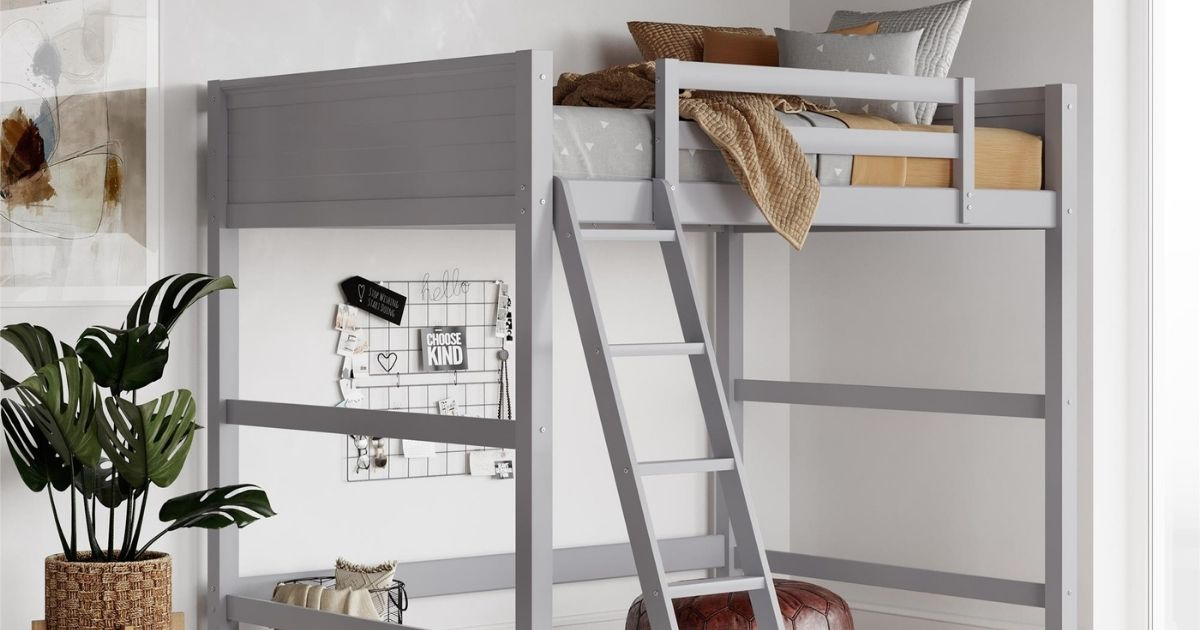 Your Zone Kids Wooden Loft Bed with Ladder