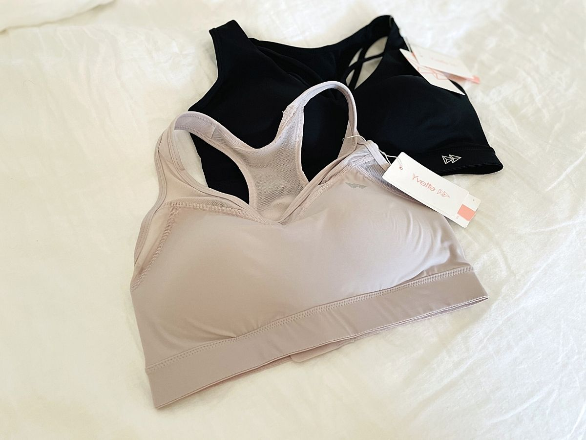 sports bras on bed