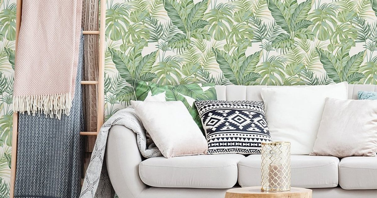 Zulily Wallpaper in room with couch