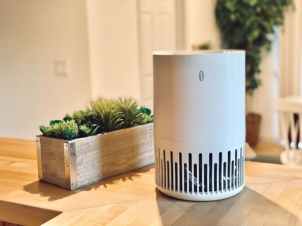 air purifier sitting on wood countertop