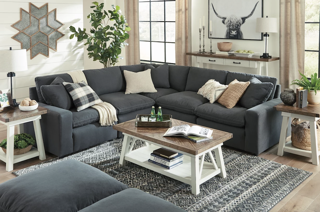 Ashley sectional in the living room