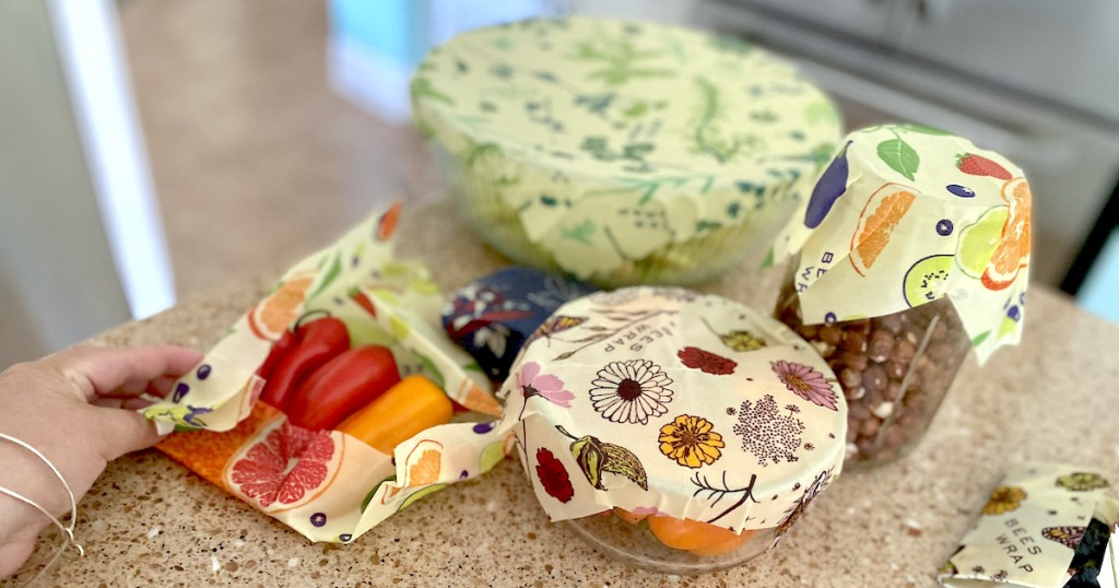 various bowls on counter with beeswax wraps on top