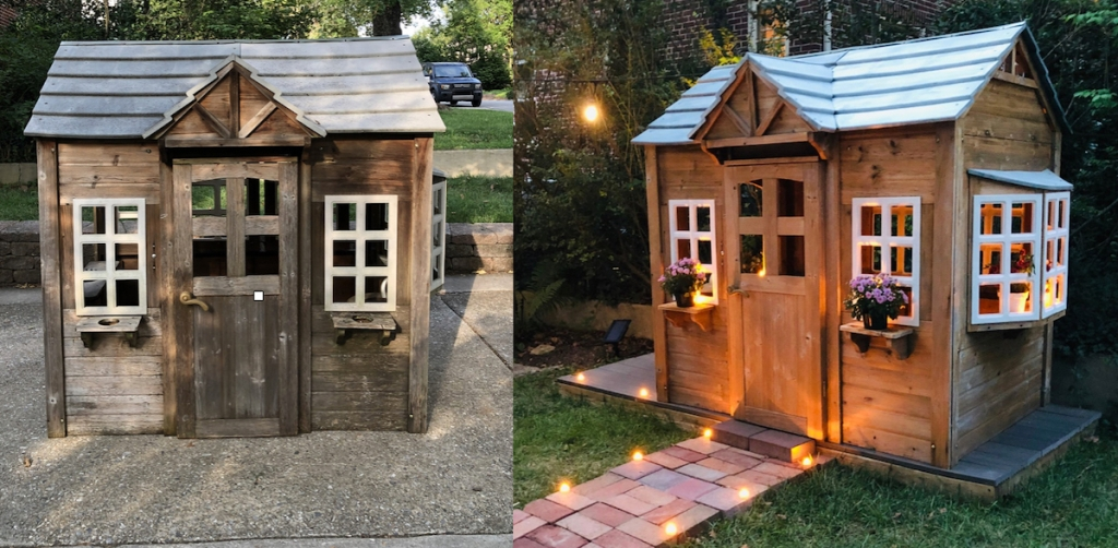 before and after of wooden playhouse makeover