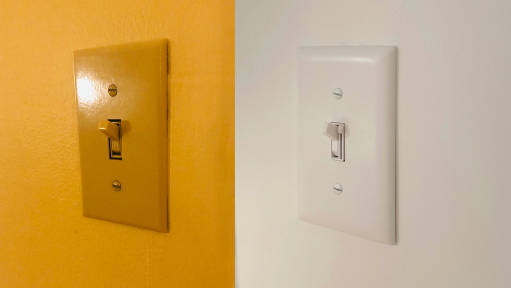 yellow and white light switches side by side