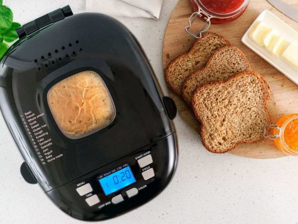 top view of black bella bread machine