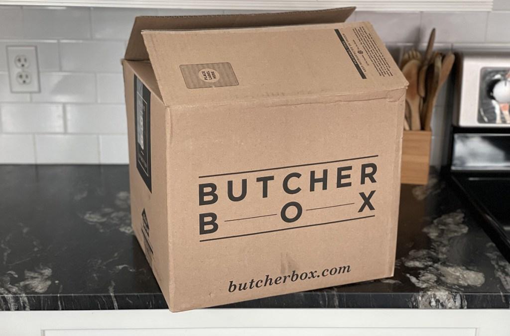 butcher box cardboard box on counter