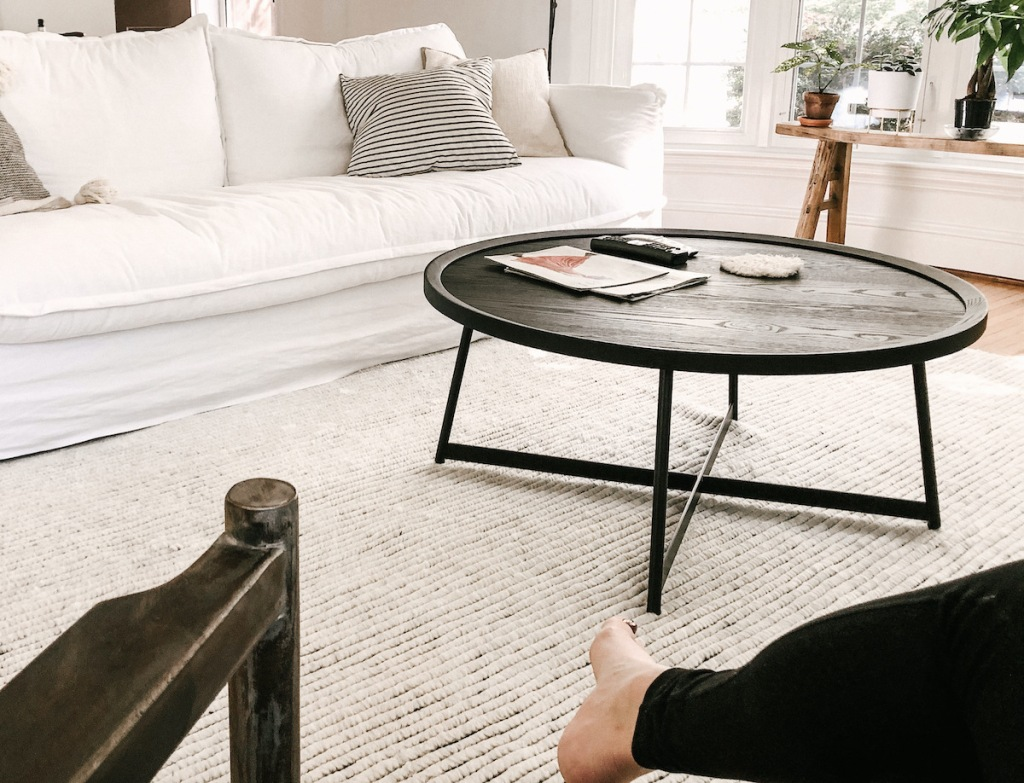 black coffee table in middle of living room home decor ideas