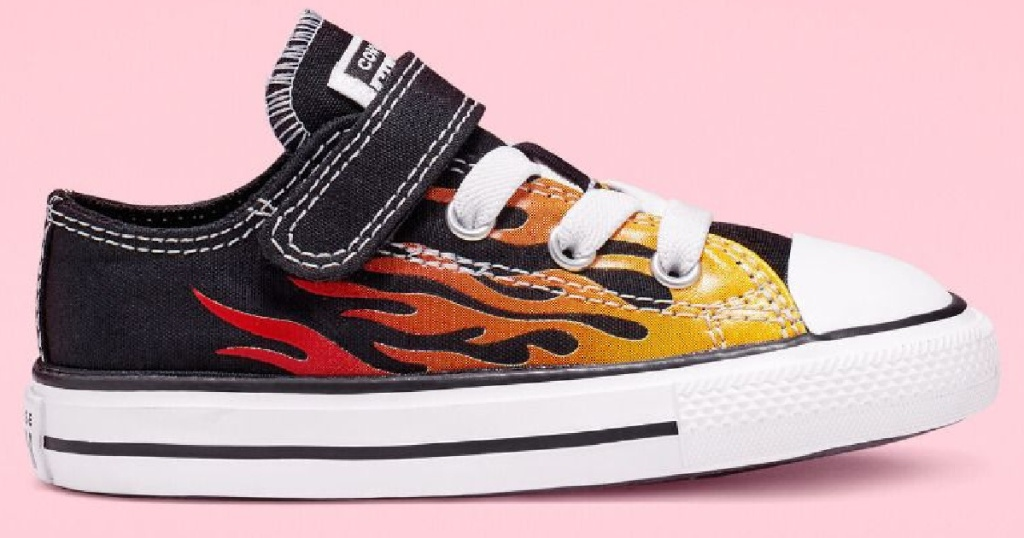 converse kids shoes w: flames