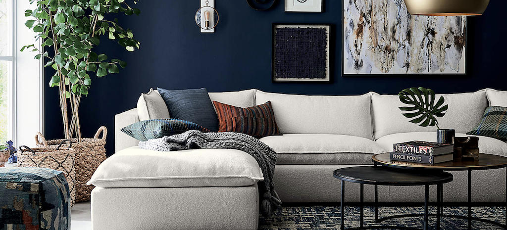 Crate & barrel sectional in living room