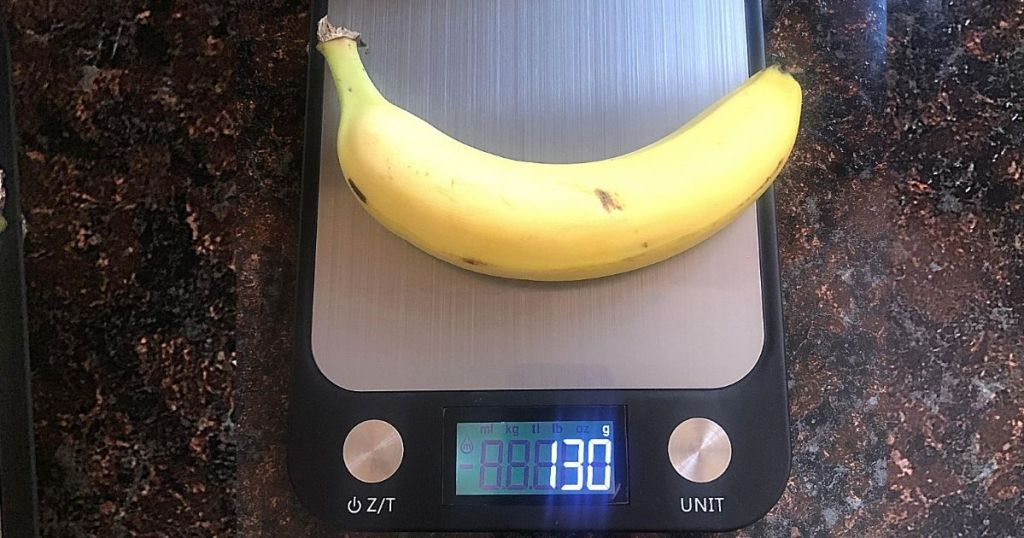banana on stainless steel digital scale