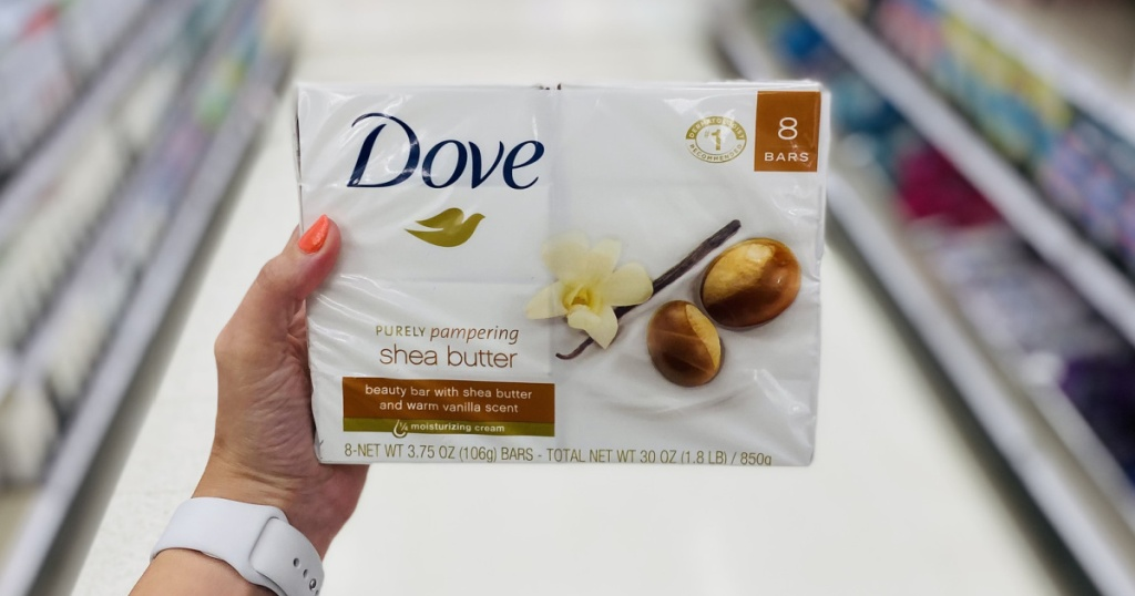 dove soap multi pack in hand in store aisle