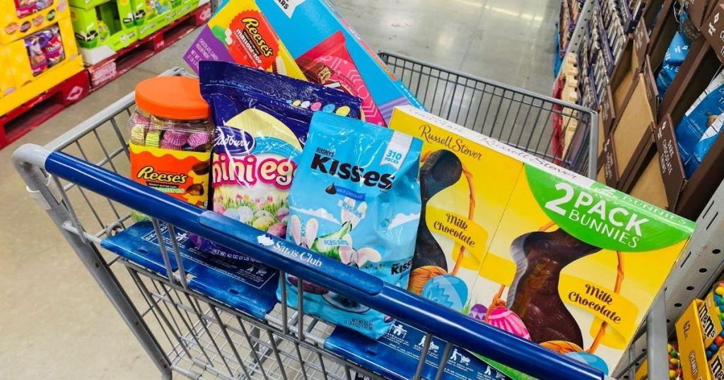 Sam's club cart full of candy