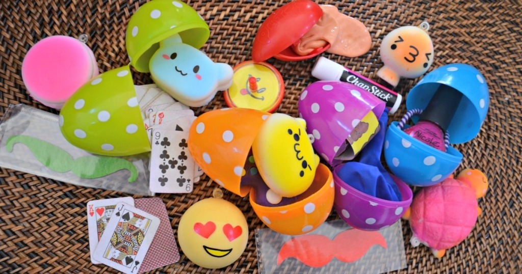 pile of plastic easter eggs with non candy fillers inside