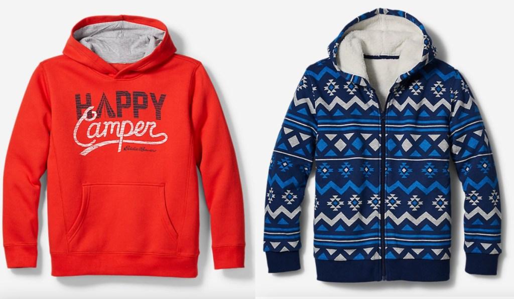 two eddie bauer kids hoodies