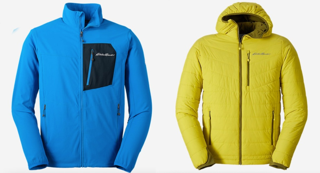 blue and yellow eddie bauer mens jackets