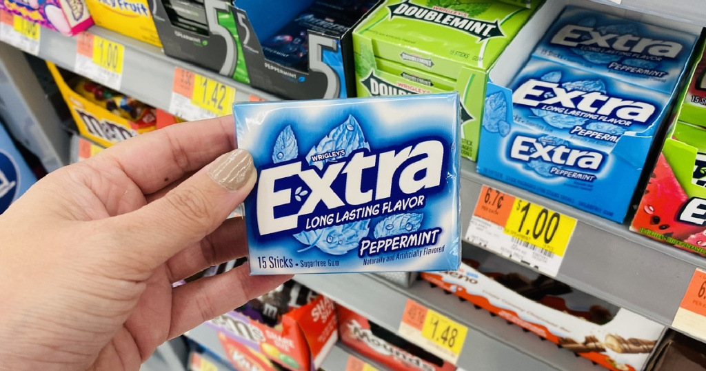 extra gum in hand