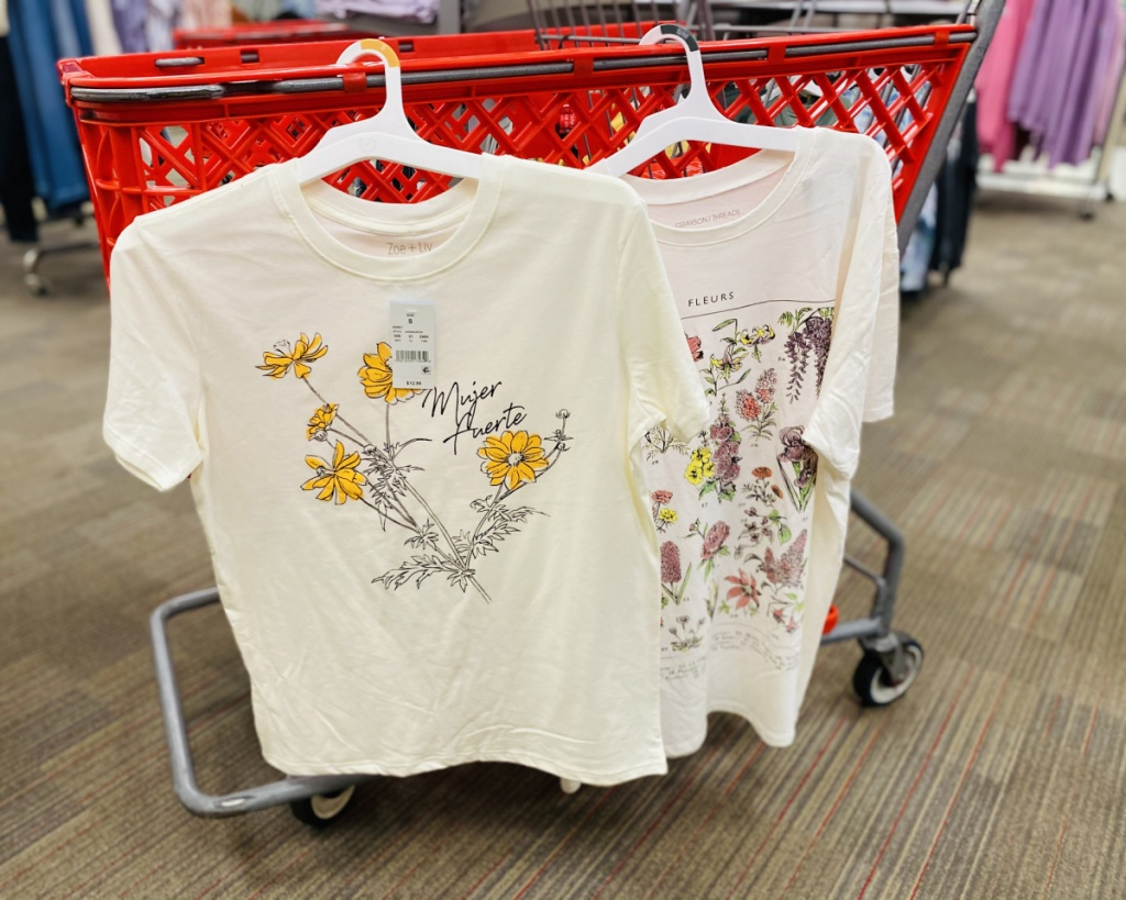 floral graphic tees target hanging on cart