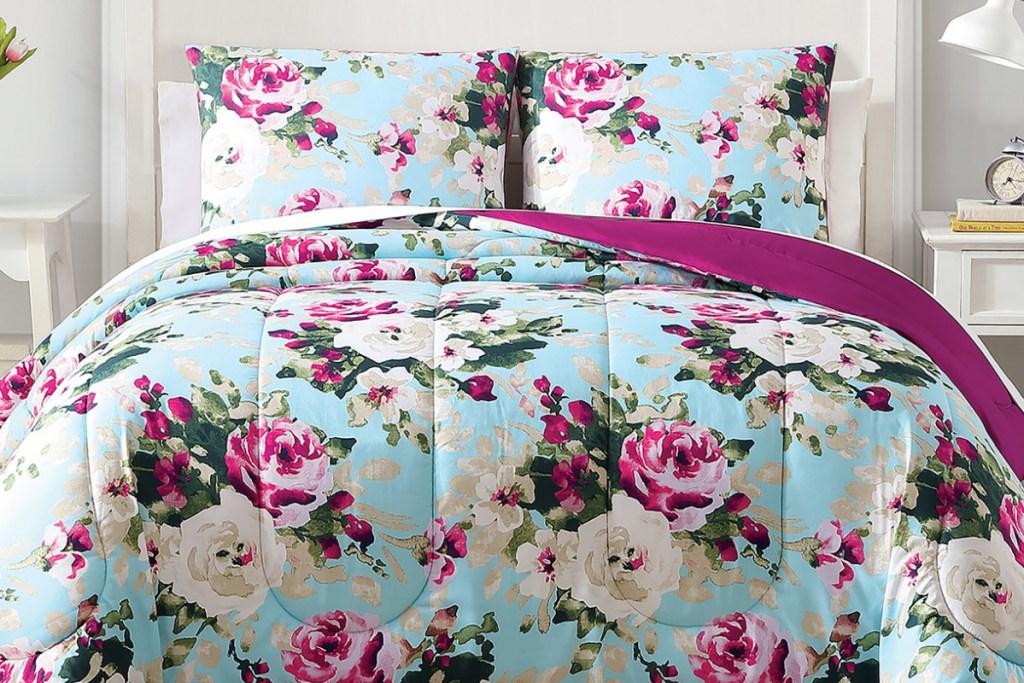 fushia floral bedding set