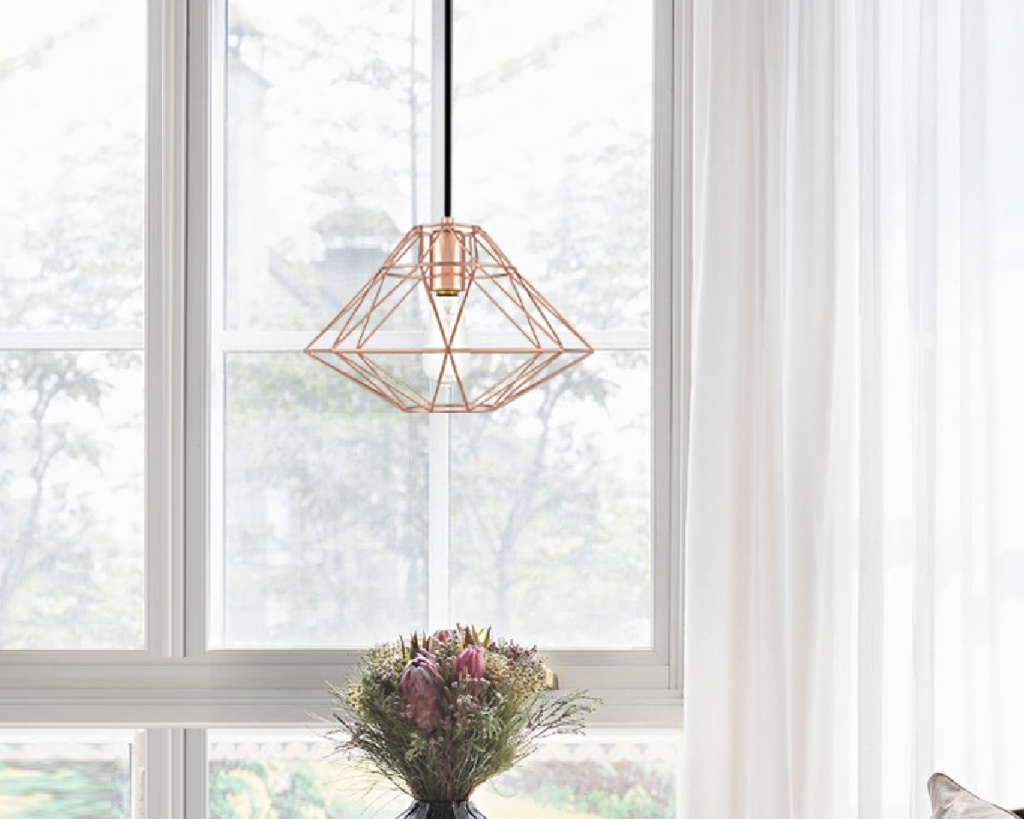 geometric pendant light rose gold