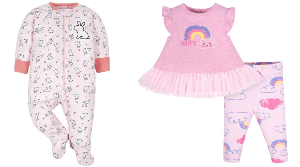 bunny sleeper and ruffle and leggings rainbow outfit