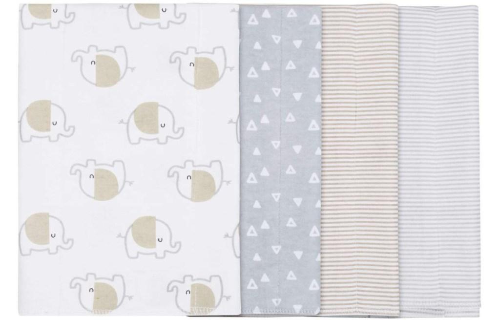 elephant gray and tan themed burp cloths