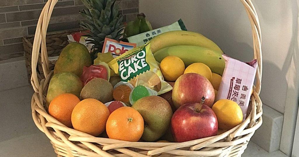 gift basket full of fruits