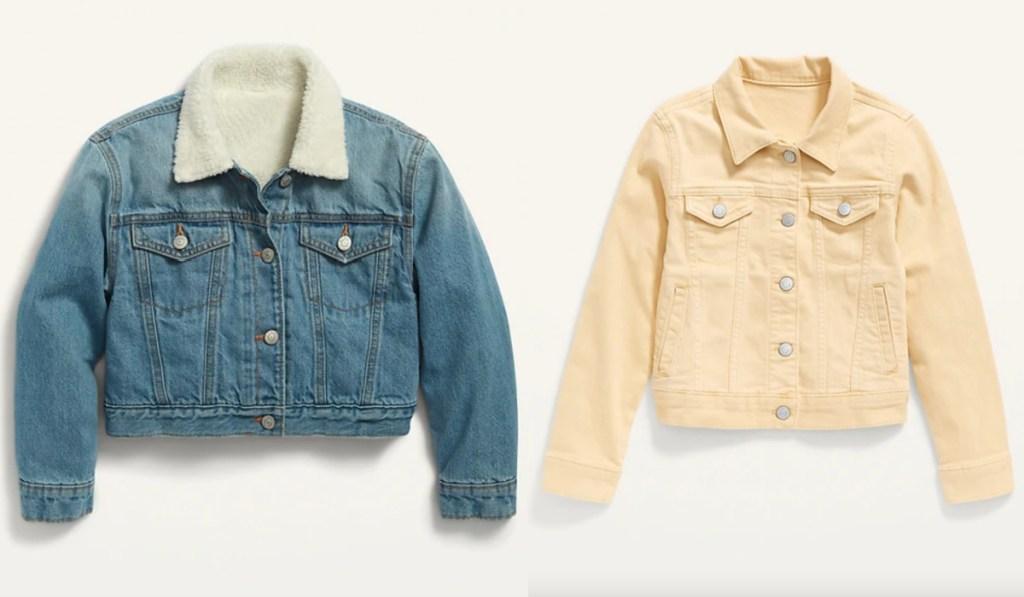girls jean jackets yellow