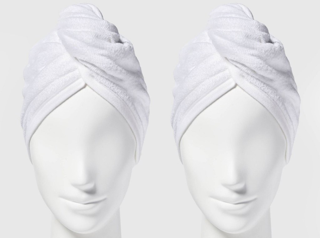 mannequins wearing hair towels
