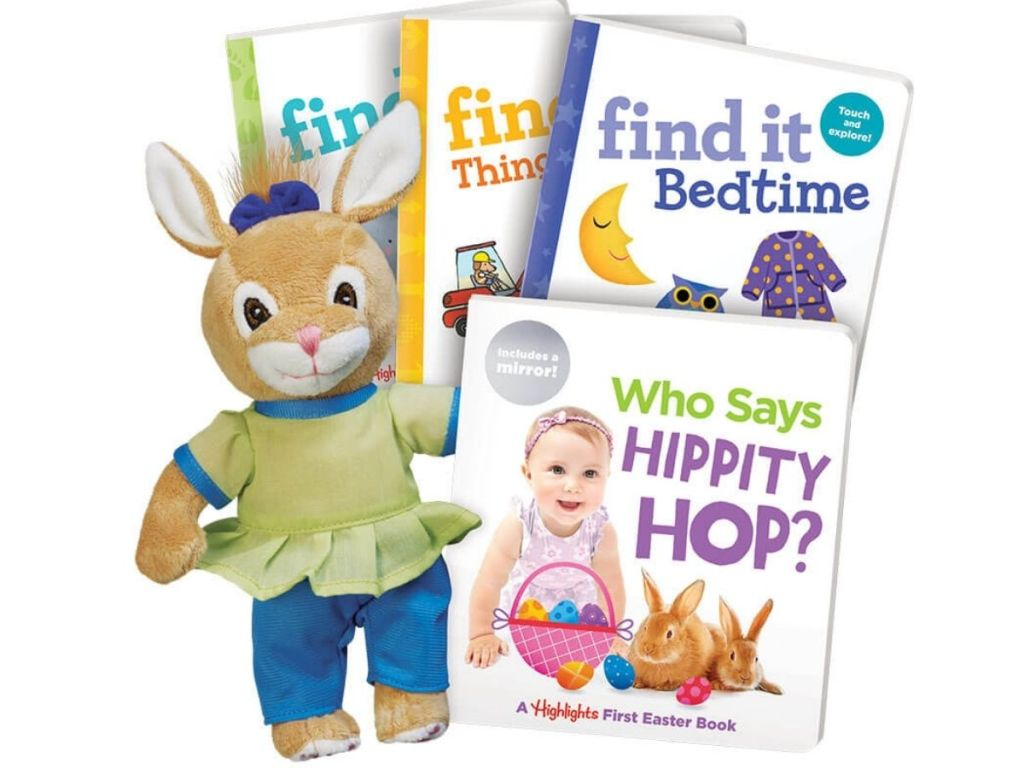 Highlights Easter books and plush bunny