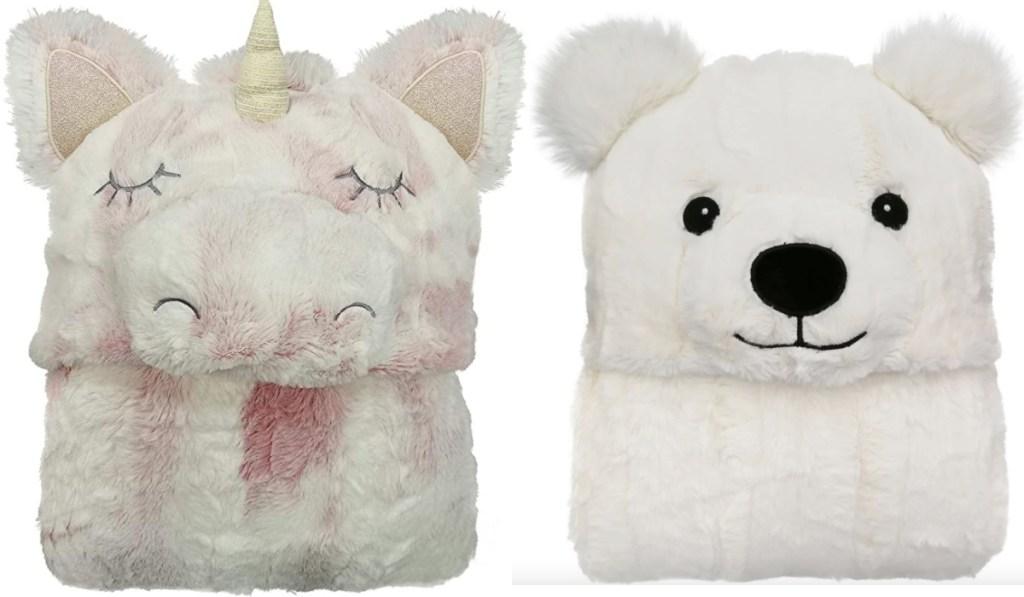 unicorn and bear hooded blankets