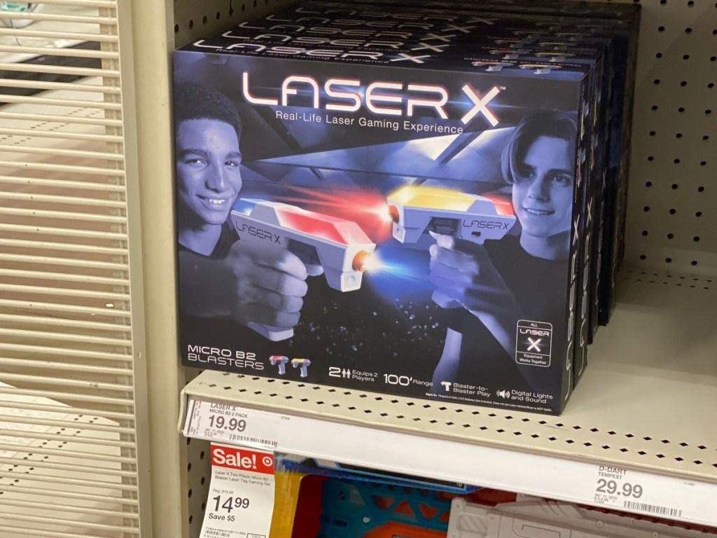 Laser tag blaster set on shelf at Target